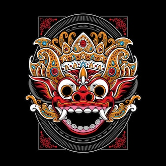 Balinese barong mask isolated on black