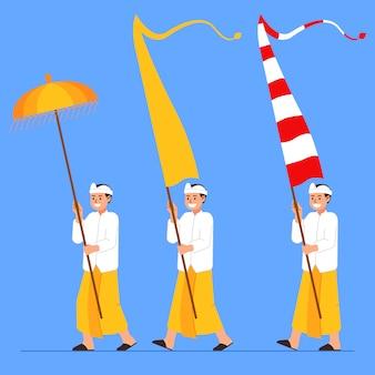 バリの男の子は長い旗と傘を運ぶ