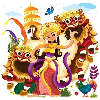 Balinese dancer and the barongs