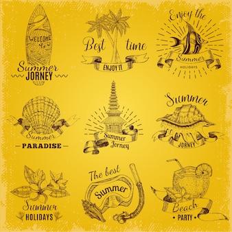 Balinese emblem set