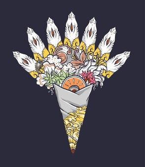 装飾が施されたバリのフラワーアレンジメント