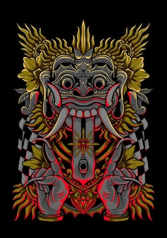 발리 그림 바롱 벡터 아트 의류 디자인 티셔츠