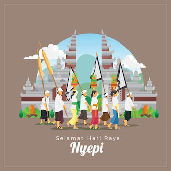 Balinese nyepi greetings card with people and ceremonial tool in front of gate