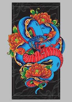 Balinese snake design tattoo poster