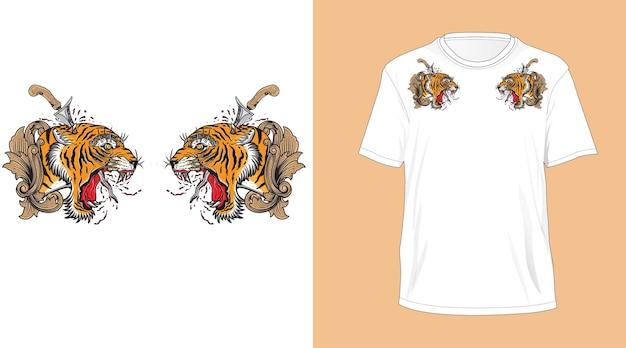 티셔츠 흰색 발리 호랑이 머리 디자인