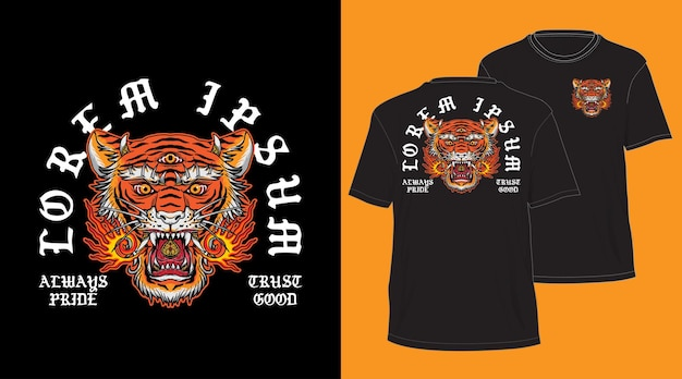Balinese tiger head design for t-shirt black