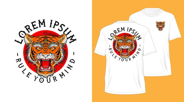 Balinese tiger head design for t-shirt white