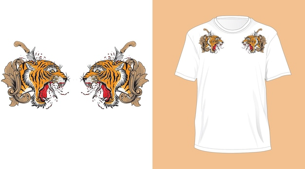 Balinese tiger head design for t-shirt white Premium Vector