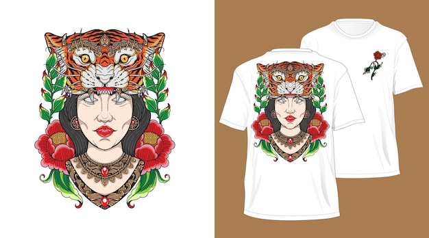 Balinese tiger head girl design for tshirt white Premium Vector