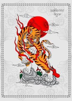 Балийский тигр татуировка плакат печать