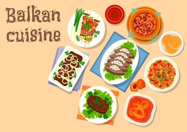 バルカン料理の豚肉と野菜の串焼きアイコン、ソーセージの豆煮、豚肉と牛肉のカツレツ、肉のトマトライス、牛レバーのベーコンの詰め物、焼き牛肉のカツレツ、アプリコットフルーツデザート