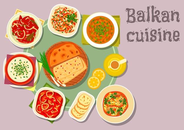 バルカン料理の伝統的なトマトとペッパーのシチューのアイコン、卵とチーズのスープ、レモンと魚のシチュー、ベイクドビーンズ、ポテトパイ、ペッパーのマリネ、トマトキャベツのサラダ