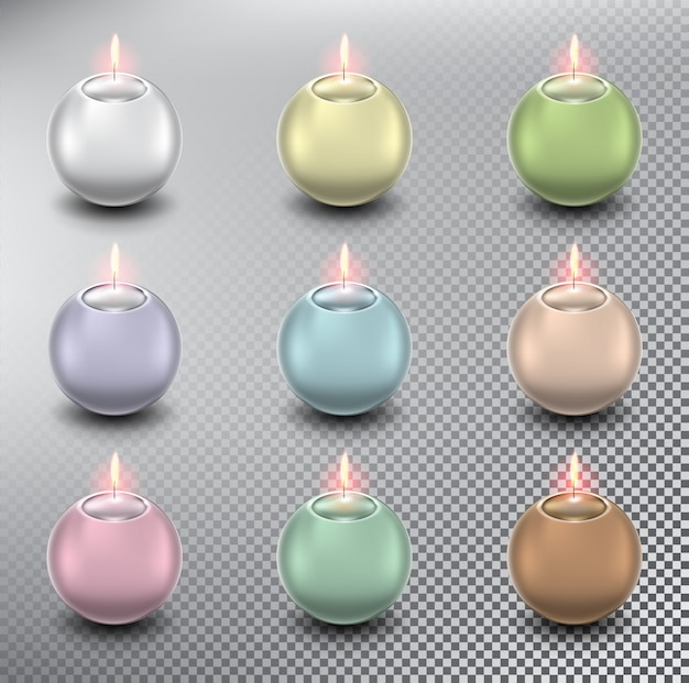 Ball candles. spherical candles. isolated on the white background.