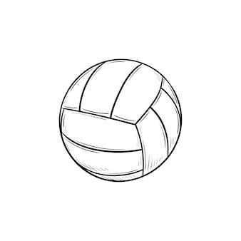 バレーボールの手描きのアウトライン落書きアイコンを再生するためのボール。バレーボール機器、チームスポーツ活動の概念
