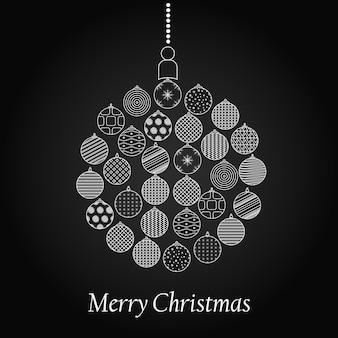 Шар для елки. дизайн к новогодним праздникам. линейный стиль. черное и белое. векторная иллюстрация. Premium векторы