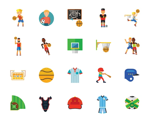 Ball games and competition icon set