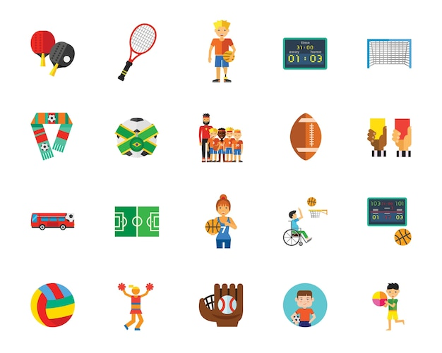 Ball games icon set