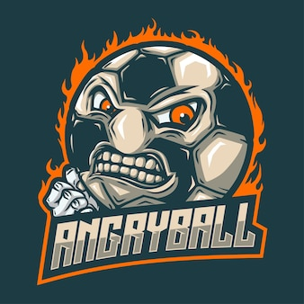 Ball mascot with angry face n fist hand