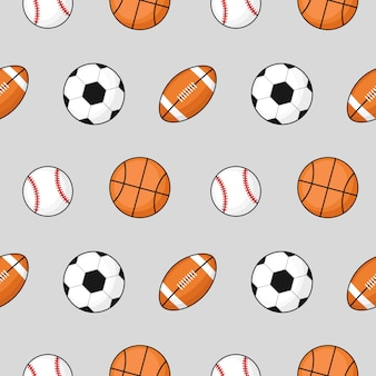 Ball seamless pattern football, basketball, soccer on gray.