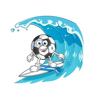 波のキャラクターイラストでボールサーフィン