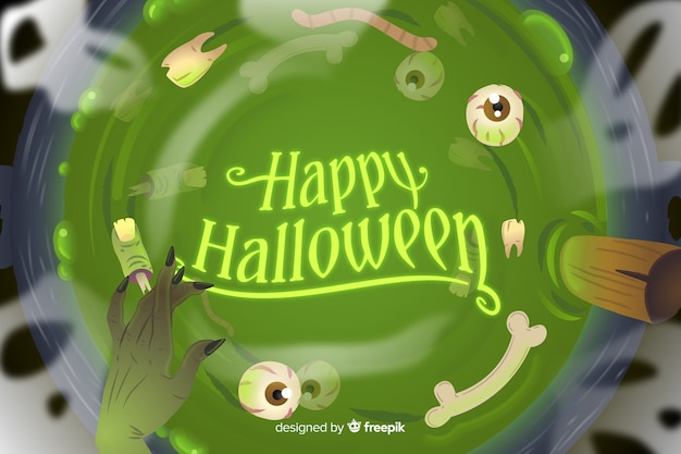 Ball of toxic gas hand drawn halloween background