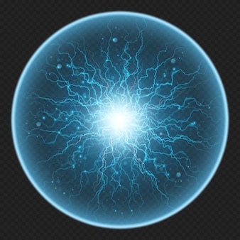 Ball with charged energy elementary particle, glowing lightning, electric element.  on transparent background.