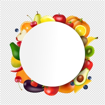 Ball  with fruits and vegetables transparent background
