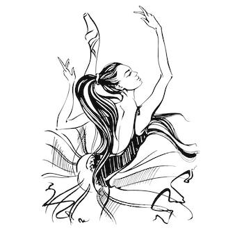 발레리나. 발레. pointe 신발에 춤추는 소녀.