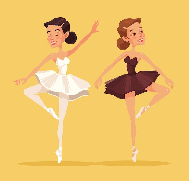 Ballerina in dance. two black and white ballerina. flat cartoon illustration