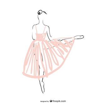 Ballerina dancer with pink dress