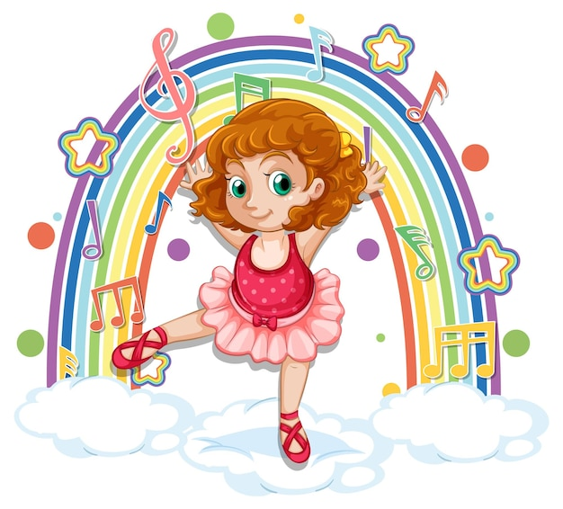 Ballerina che balla sulla nuvola con i simboli della melodia sull'arcobaleno