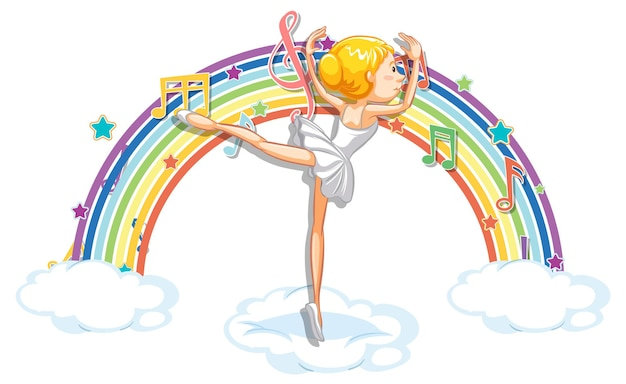 Ballerina dancing on the cloud with melody symbols on rainbow