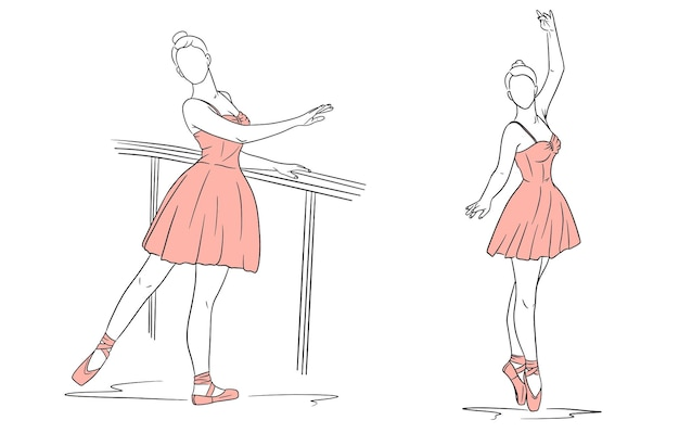Ballerina in dress and pointe shoes. line style. dancer. vector illustration for design and decoration.