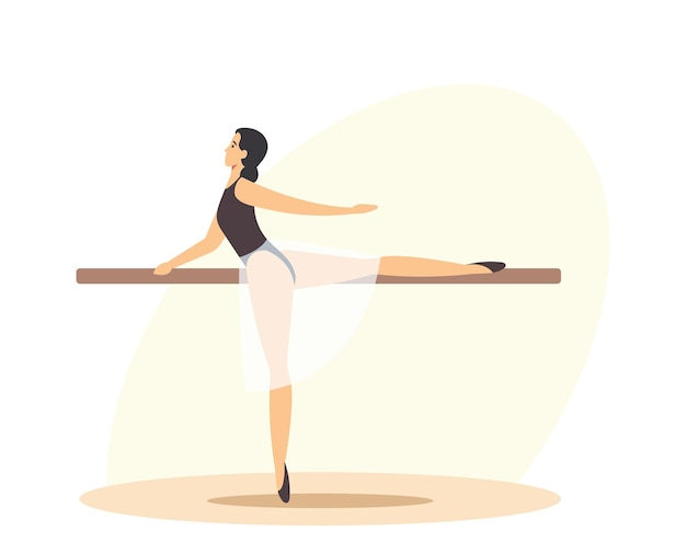 Ballerina female character creative occupation. girl training in ballet dance studio perform basic arms and legs moves on one dancer example. classroom with parallel bar. cartoon vector illustration