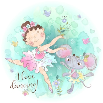 バレリーナ少女はおもちゃのマウスと踊る。踊ることが大好きだ。碑文。