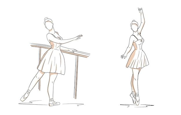 ドレスとトウシューズのバレリーナ。ラインスタイル。踊り子。デザインと装飾のベクトルイラスト。