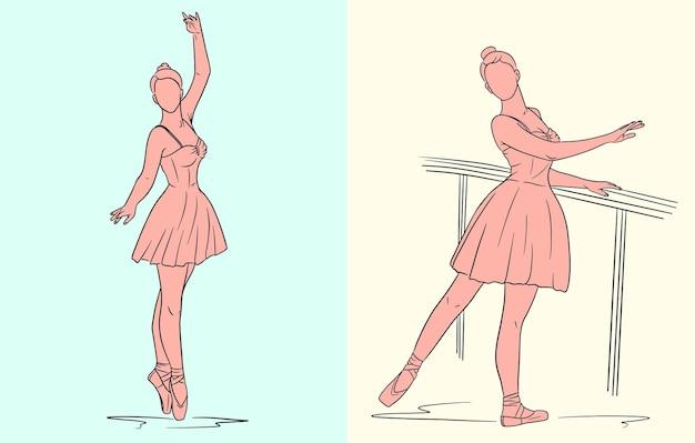 드레스와 포인트 신발의 발레리나. 선 스타일. 춤추는 사람. 디자인 및 장식을 위한 벡터 일러스트 레이 션.