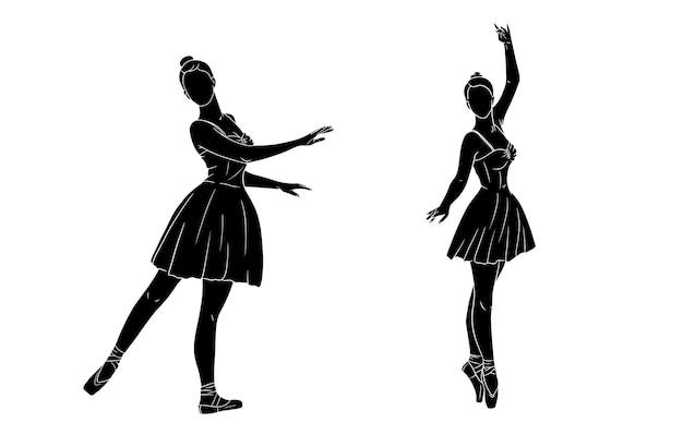 ドレスとトウシューズのバレリーナ。シルエット。踊り子。デザインと装飾のベクトルイラスト。