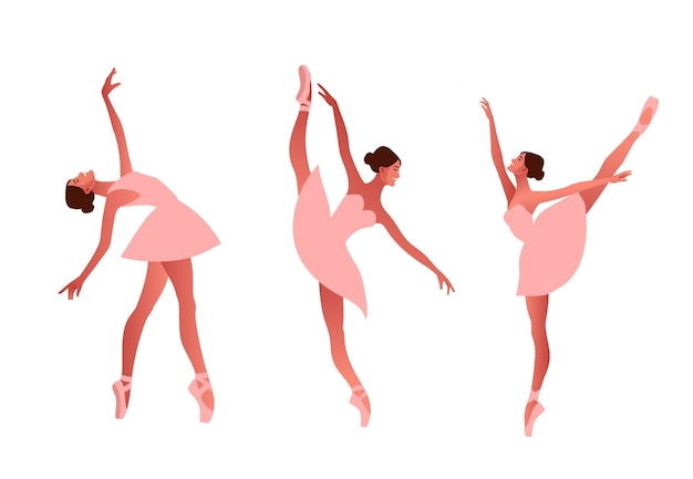 Ballerina and modern dancer flat  set illustration. beauty of classic ballet. young graceful woman ballet dancer wearing tutu. pointe shoes, pastel colours