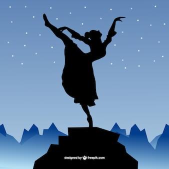 Ballerina silhouette and night sky