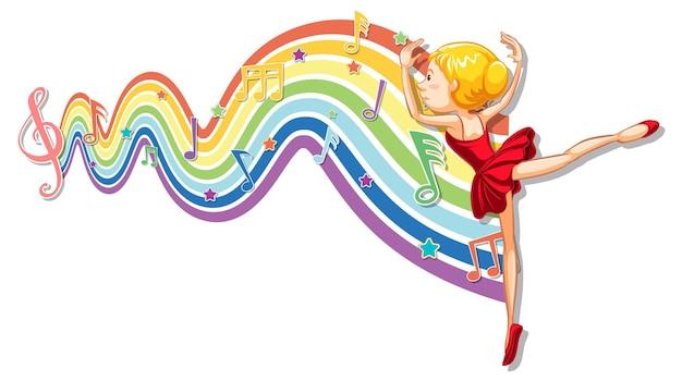 Ballerina con simboli di melodia sull'onda arcobaleno