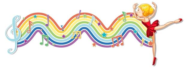 Ballerina with melody symbols on rainbow wave