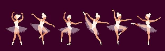 발레리나. 발레 댄서 문자 집합입니다. 아름다운 금발 소녀 성능. 포인트 슈즈와 발레 투투의 소녀. 무대에서 우아한 여성. 오페라 개념.