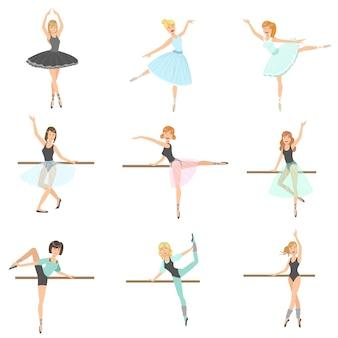 댄스 클래스 세트에서 발레리나 훈련