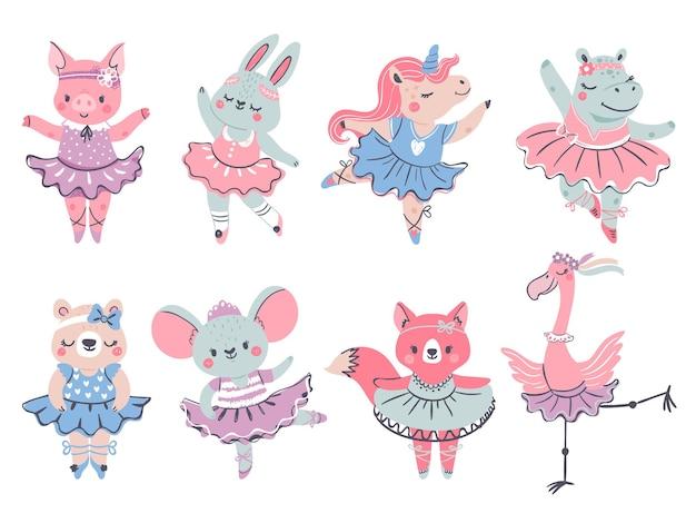 발레 동물. 스칸디나비아 스타일의 토끼, 여우, 유니콘 발레리나. 돼지, 곰, 하마, 플라밍고가 투투를 입고 춤을 춥니다. 여자 패션 벡터 집합입니다. 드레스 발레리나 동물, 귀여운 토끼 댄서 그림
