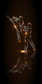 Балет. балерина и танцор во время прыжка держатся за талию партнера, исполняют па. выступление на сцене с зеркальным отображением. абстрактные танцоры силуэта с золотым контуром на коричневом фоне.