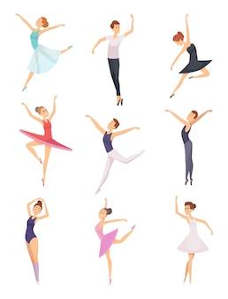 Балетные мальчики и девочки. танцоры балета мужские и женские векторные символы изолированы. девушка и мальчик балетный танец, иллюстрация танцора мультяшное представление