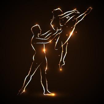 バレエ。カップルダンスバレエ。バレリーナと彼女のパートナー。ペアステートメント。マンダンサーがジャンプしながらウエストバレリーナをサポートします。黄金の光の輪郭を持つ2人のダンサーの抽象的なシルエット。ベクター
