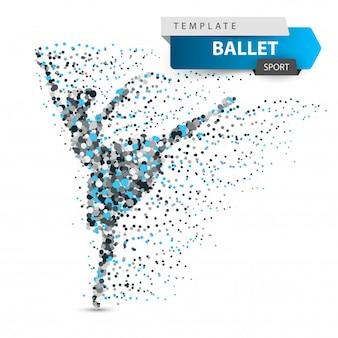 Ballet, dance, girl - dot illustration