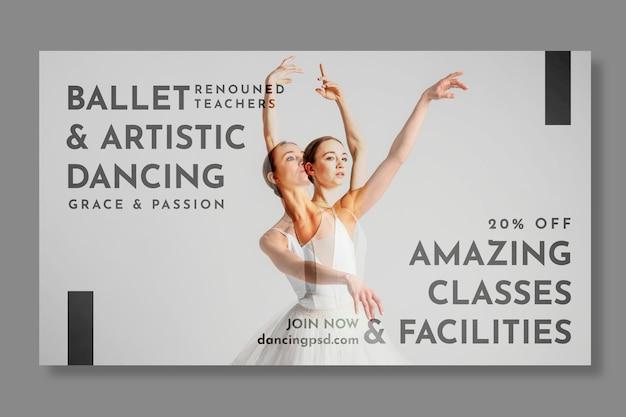 Modello di banner orizzontale del ballerino di balletto